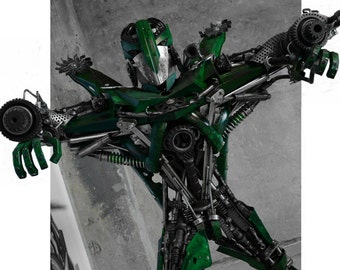 Recycled Metal  Robot - green 140 cm / 100 kg scrapsculpture steanpunk