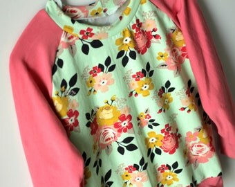 child sweater 3 years - flowers & coral