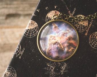 Galaxy Nebula Necklace, Mystic Mountain Nebula, Space Galaxy Pendant, Astronomy Necklace, Universe Jewelry, Carina Nebula