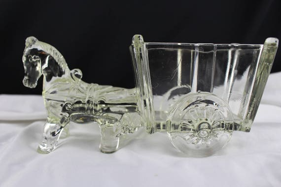 Large Vintage Clear Glass Donkey Pulling Cart Candy Bowl. Planter