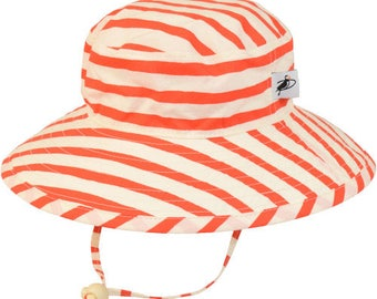 Child's Sun Protection Sunbaby Hat - Organic Cotton Print in Sailor's Stripe (6 month, xxs, xs, s, m)