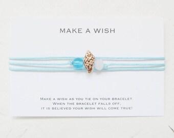 Wish bracelet, make a wish bracelet, shell bracelet, beach bracelet, summer bracelet, W22