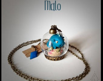 Bijoux Collier mini-terrarium en verre - Malo le cochon d'inde des mers  -