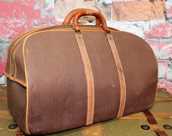 Vintage 1930's Brown Canvas Leather Trim AWOL Bag, Travel Case, Old Suitcase, Old Luggage, Old AWOL Bag, Vintage Suitcase, Photo Prop