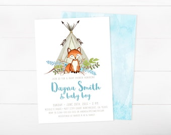 Boy Baby Shower Invitation, Woodland,  Fox, Teepee, Arrow, Watercolor Invitation (722)