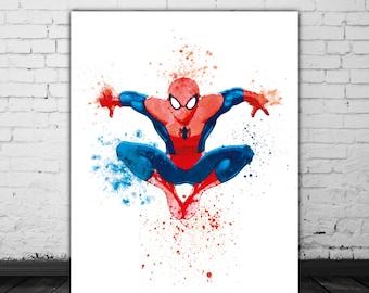 Amazing Spiderman Poster, Superhero Nursery Watercolor Splash, Marvel Art, Spider Man Super Hero Art, Comic Book Decor, Marvel Poster