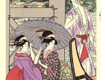 "Japanese Ukiyoe, Woodblock print, Utamaro, ""On Top of and beneath Ryôgoku Bridge shita"""