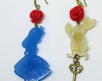 Alice in Wonderland resin earrings - Alice and the White Rabbit silhouettes