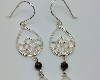 Sterling Silver 925 Garnet, Freshwater Pearl , Art Deco , Lotus flower,  Earrings. Pretty, Shiny Reduced,Bargain,price lowered, old stock