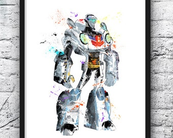 Transformer Watercolor Print, Movie Poster, Bumblebee Optimus Prime, Transformars, Nursery Art, Wall Art, Home Decor, Kids Room Decor - 630