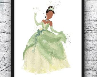Disney Princess Tiana, Disney Princess Tiana, Art Print, Watercolor, Princess and the Frog, Disney Art, Wall Decor, Girls Room Decor - 330