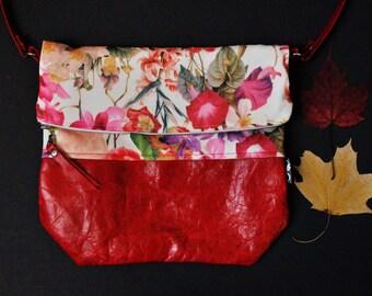 Leather and fabric handbag/crossbody bag/little bag