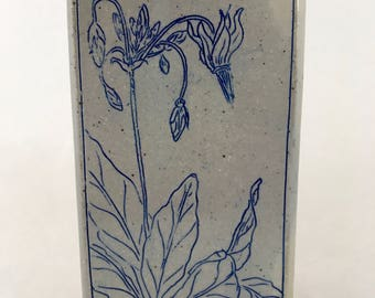 Ceramic Wall Tile, Decorative Shooting Star Design, Floral Tile, Blue and Gray