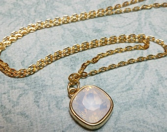 Simple Necklace, White Opal Swarovski Crystal Necklace, White Opal Crystal Pendant, Crystal Necklace, Gift, Gifts For Her, Gold Plated Chain