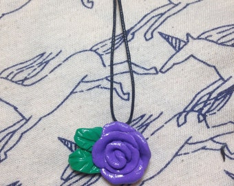 Purple Rose Charm Necklace