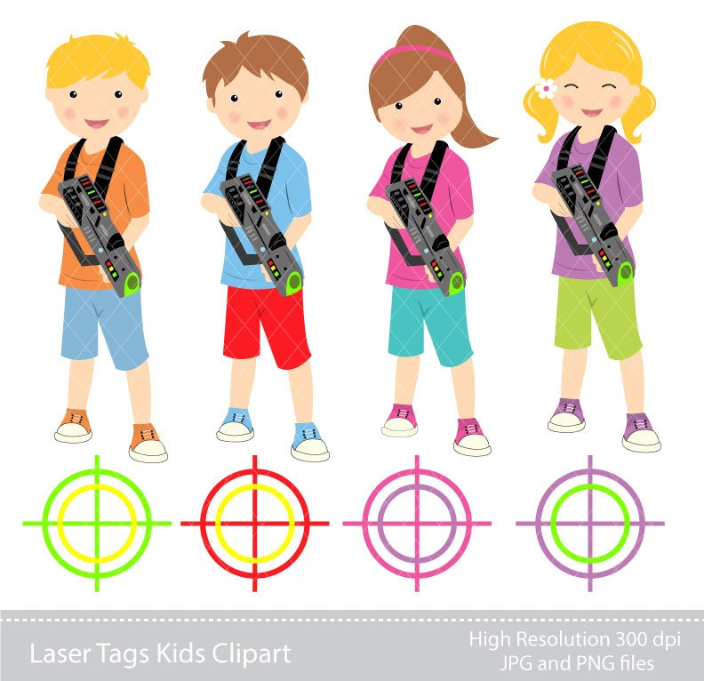 digital clipart laser tag kids clipart instant download