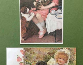 Victorian Children & Dogs New Postcard Set of 2