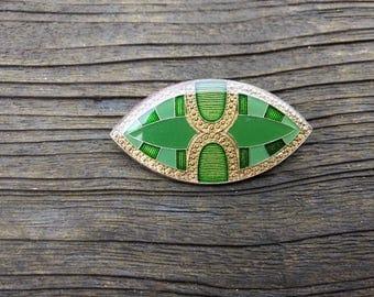 Vintage Broche - Art Deco Style - Green - Geometric - Oval