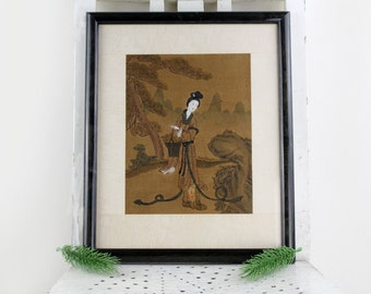 60s art work silk painting with picture frame Niagara Art and More Düsseldorf 1966 Japanese art work woman with kimono silk