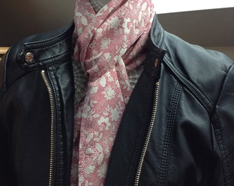 Soft and silky dusky pink and cream flower scarf