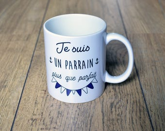 """The mug """"I'm a sponsor more than perfect"""" Cup gift baptism Communion customizable blue pennants"""