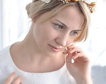 Pearl crown Wedding Hair accessories pearl gold Bridal tiara Flower headband Golden leaves tiara Bridal head piece Wedding Flower crown