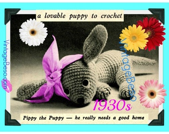 """Puppy Crochet Pattern • Vintage 1930s A Cute Poorly Dog Stuffed Plush Soft Body Toy 9"""" + Pig is FREE Pattern INSTANT Download Pdf Pattern"""