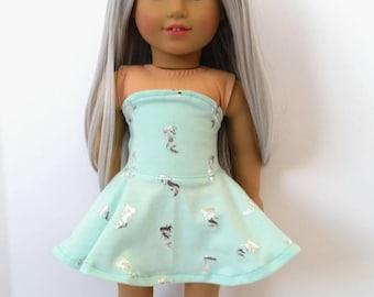 Handmade 18 inch doll strapless mermaid print dress FITS American Girl Dolls.