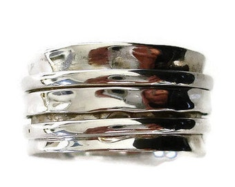 Spinner Ring - Hammered All Silver 3 Ring, Chunky Spinner Ring, Meditation Ring, All Silver Spinner Ring, Wide Thumb Ring, Mistry Gems, SP44