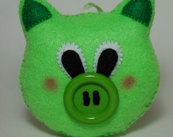 Handmade Green Felt Small Pig Stuffed Animal, Cute Pocket Stuffed Toy, Cute gift