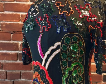 Vtg Amazing Silk Paisley Crescent Moon Floral Psychedelic Sequin Beaded Colorful Black Mini Dress XSM Small 80's