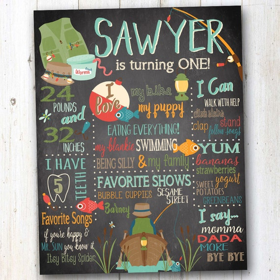 Gone Fishing Signs Decor: Fishing Birthday Chalkboard Vintage Rustic Sign