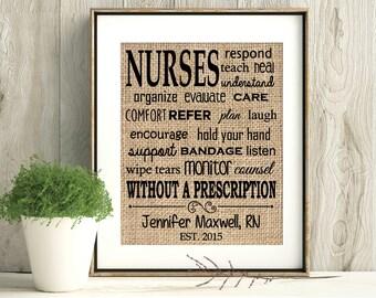 Nurse Gift, RN Gift, Gift for Nurse, Nurse Gifts, Gifts for Nurses, BS RN Gift, Graduation gift, burlap print, home decor