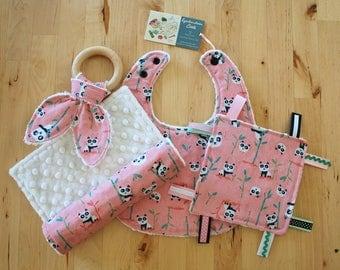 Baby Girl Gift Set - Pandas - Bib, Burp Cloth / Burpcloth, Crinkle Teether w/ Maple Teething Ring, & Crinkle Sensory Toy with Ribbons