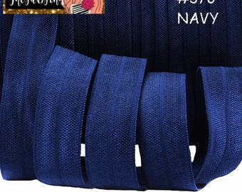 "5/8"" inch Navy Blue #370 FOE Fold Over Elastic - Solid Color - By the Yard- Shiny DIY For Headband - Dark blue"