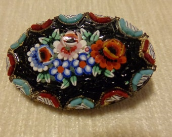 Antique Micro mosaic tesserae oval brooch Italy