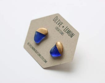Blue Sea Glass Earrings - Gold Capped Earrings - Small Sea Glass Earrings - Dainty Earrings - Paint Dipped - Sterling Silver Stud Earring