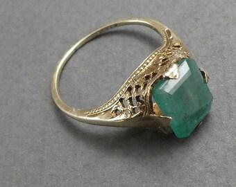 14K Filigree Emerald Ring size 7.5- Retro Reproduction