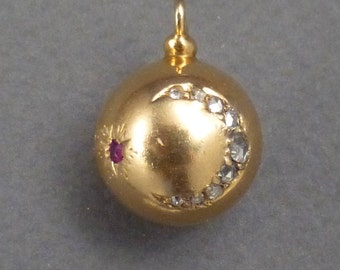 18K Ruby Star and Crescent Diamonds Ball Fob
