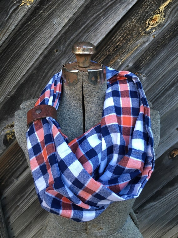 navy, orange and White plaid flannel eternity scarf with a brown leather cuff - soft, trendy