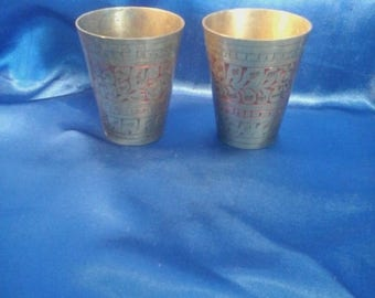 Pair of Vintage Brass Indian Shot Cups .