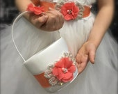 flower girl basket, coral flower girl basket, flower girl sash, wedding decoration, coral sash, coral wedding, flower girl belt