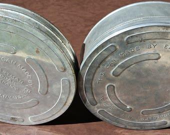 Vintage Movie Reel Canisters, Movie Reel Tins, Eastman Kodak Tins, Set of 2, Lidded Metal Tins, Metal Movie Tins