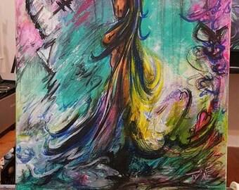 Behind Her Beauty |  16x20 Acrylic on Canvas