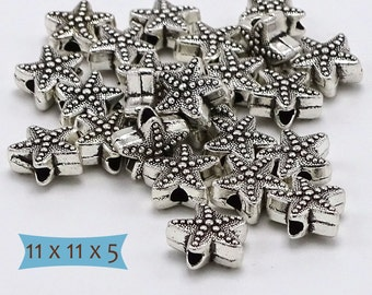 Starfish Beads Silver Tone Pewter-20 Pcs | 8-1138-20