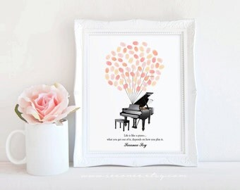 Grand Piano Fingerprint guestbook, Thumbprint guest book, Retirement gift, teacher gift, baby shower, Music Birthday, Bridal shower gift