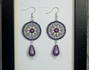 Aubergine boho earrings. Beads. Silver.