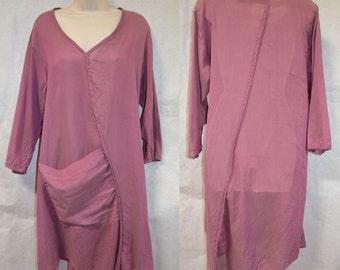 Cynthia Ashby Dress Tunic Sheer Pink Size Small Loose Fit Flowy Shirt Dress