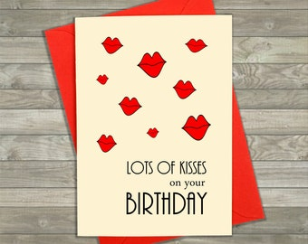 Birthday Kisses Card, Birthday Card Boyfriend, Greeting Cards, Kisses, Lips, Funny Birthday Card, Handmade Card, Card for Boyfriend, Naughty