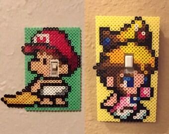 Baby Mario or Princess Peach Perler Bead Light Switch Covers